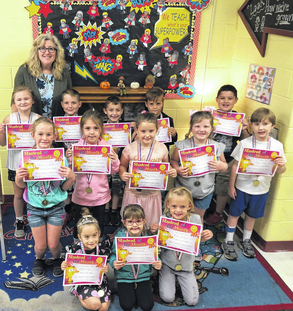 The Students of the Month for September at Point Pleasant Primary School (PPPS) were recently selected by their teachers and celebrated with sharing lunch with Principal Vickie Workman, those pictured with Workman are Isabelle Green, Remi Deweese, Brielle Rimmey, Emma Riffle, Eli Hickman, Marissa Anthony, Kaylee Chapman, Dexter Nowlin, Dawson Pike, Raelynn Dewitt, Holdyn Keefer, Sophia Ball and Ryker Crump.