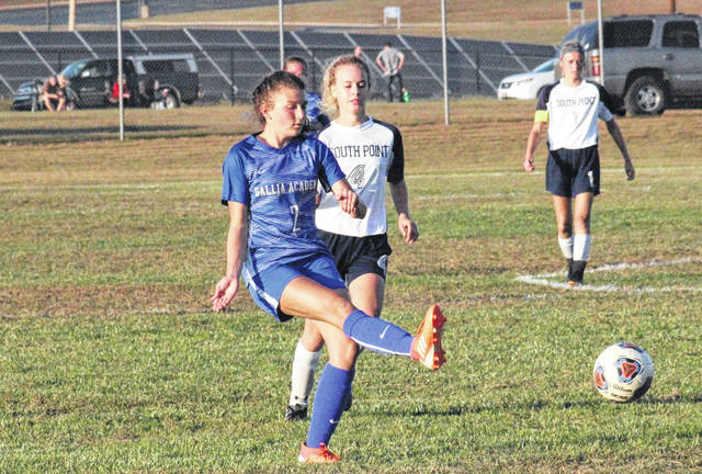 Gallia Academy sophomore Gabby McConnell (2) passes the ball up field, during the Blue Angels' 5-1 win on Thursday in Centenary, Ohio.