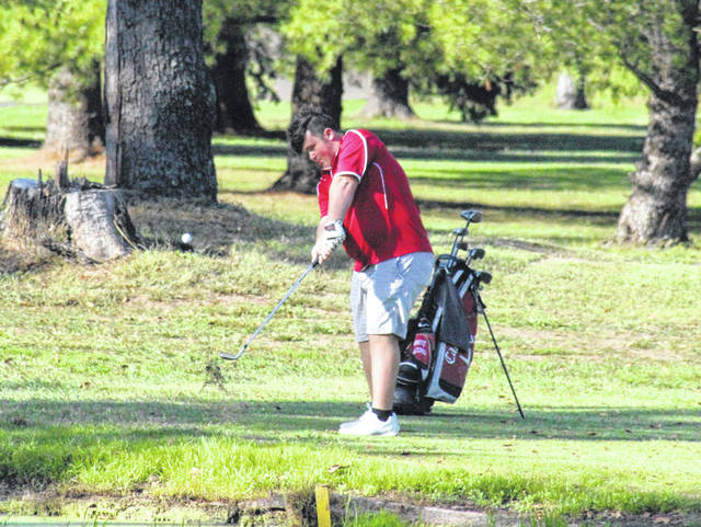 Wahama sophomore Ethan Mitchell pitches onto the third green on Wednesday at Riverside Golf Club in Mason, W.Va.