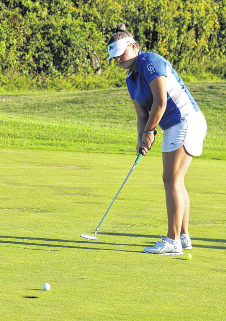 Gallia Academy senior Bailey Meadows hits a putt attempt during a Sept. 5 match at Cliffside Golf Course in Gallipolis, Ohio.