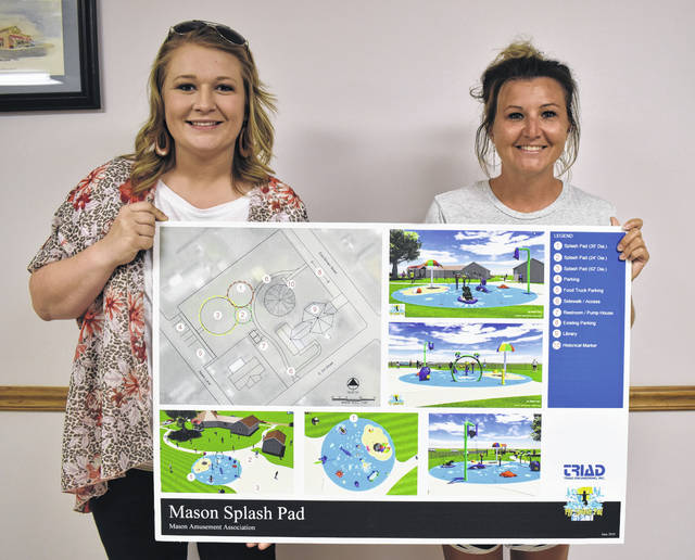 Mason Amusement Association members Harley Stewart, left, and Donna Dennis, display the plans for a splash pad to be built in Mason, next to the library and Virgil Lewis Memorial Reading Park on Brown Street. Members have raised $15,000 of the needed $75,000 in the past year through donations and various fundraisers.