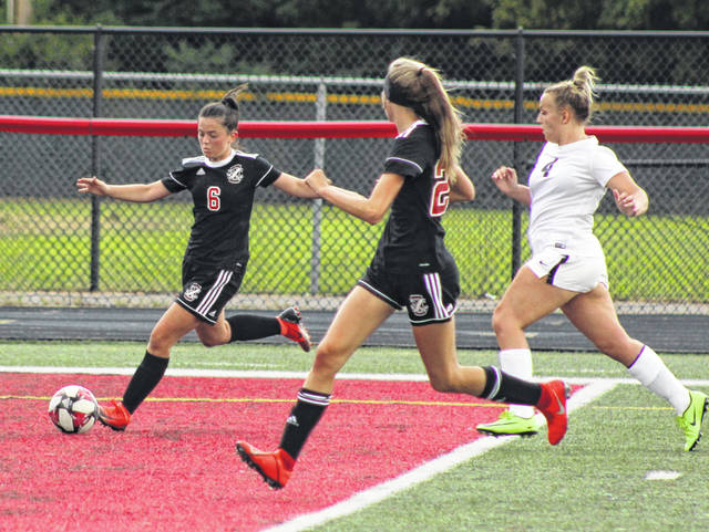Point Pleasant senior Morgan Miller (6) prepares to launch a shot attempt during the first half of an Aug. 23 match against Pikeview at OVB Field in Point Pleasant, W.Va.