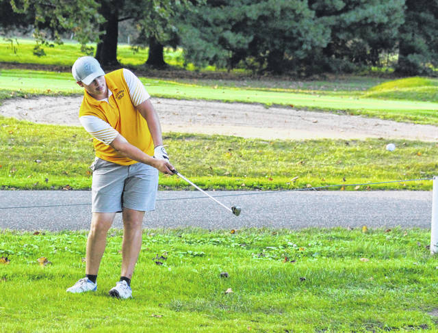 Southern junior Jacob Milliron hits a chip shot during a Sept. 11 match at Riverside Golf Club in Mason, W.Va.
