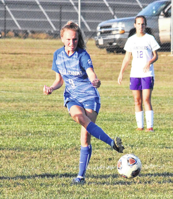 GAHS sophomore Alivia Lear (9) passes the ball near midfield, during the Blue Angels' 1-0 victory over Chesapeake on Thursday in Centenary, Ohio.