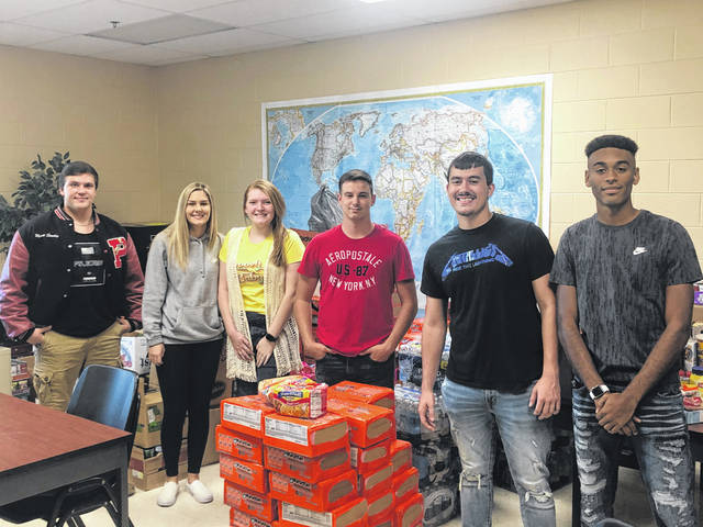 Pictured are PPHS seniors with some of the collected food items, from left, Wyatt Stanley, Gavyn Buskirk, Lauren Gritt, Joseph Hersman, Braxton Yates and Jovone Johnson.