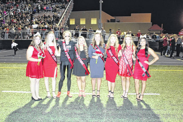 Pictured are Band Sweetheart Morgan Miller, Junior Attendant Kira Henderson, Sophomore Attendant Ellie Wood, Senior Attendant Tristan Pearson, Homecoming Queen Carlee Sang, Senior Attendant Jenna Snyder, Freshman Attendant Ruthie Carr.