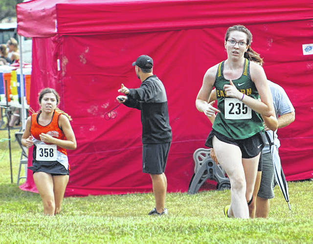 Eastern junior Alysa Howard hits full stride during the varsity girls race at the 2019 Patty Forgey Invitational held in Rio Grande, Ohio.