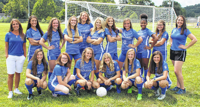 Pictured are members of the 2019 Gallia Academy varsity girls soccer team. Sitting in front, from left, are Preslee Reed, Zoie Clickenger, Alivia Lear, Cori McKean, Kyrsten Sanders and Gabby McConnell. Standing in back are GAHS coach Leah Polcyn, Maddi Rocchi, Maddie Stewart, Sarah Watts, Kaylie Clark, Megan Bailey, Brooke Johnson, Koren Truance, Brooklyn Hill, Brooke Hamilton and assistant coach Katie Guinther.