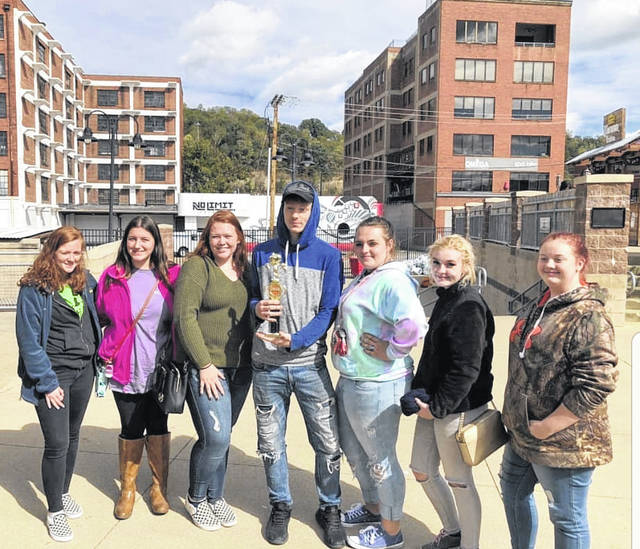 Pictured are Hannan Junior/Senior High School students Sydnee Holley, Karria Hall, Jordan Fitzwater, Violet Moore, Rebecca Wallace, Morgan Porter and Siera Gibas. These students took first place overall and honors for most creative device at the Capital City Pumpkin Drop.
