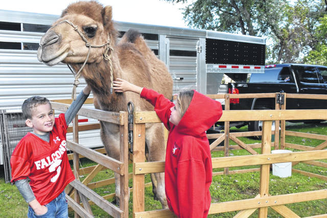 Elijah and Hannah Frye are pictured petting a camel at the recent Mason Harvest Festival. The camel was only one of many of the exotic animals featured by the BARKer Farm of Pedro, Ohio, a mobile petting zoo. More from Mason's annual celebration of fall inside this edition and online at www.mydailyregister.com.