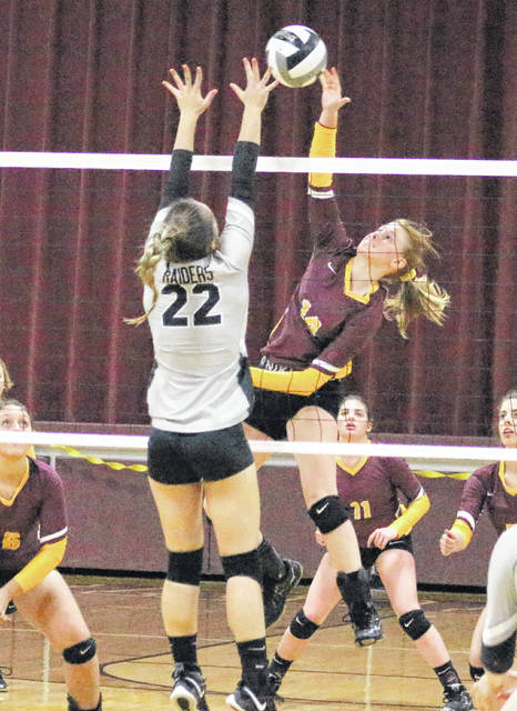 Meigs sophomore Mallory Hawley leaps for a spike attempt during an Oct. 10 volleyball match against River Valley in Rocksprings, Ohio.
