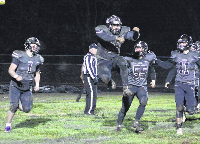 River Valley senior lineman Darian Peck (66) celebrates after running in a 2-point conversion attempt during the fourth quarter of Friday night's Week 10 football contest against South Gallia in Bidwell, Ohio.