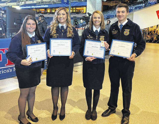 Pictured from left are Kaitlyn Dunn, Jordan Muncy, Emily Keefer and Jason Bechtle with their American FFA Degrees.