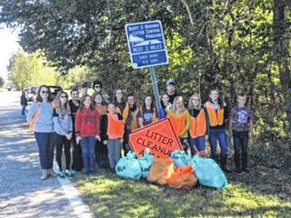 Member of the Haer Bears 4-H Club filled seven bags with trash on Oct. 13.