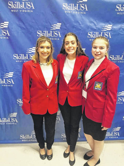 Pictured from left are Kadann Bonecutter, Kasey Lyons and Clairissa Mattox. All three students won the Statesman Award during the SkillsUSA Leadership Conference.