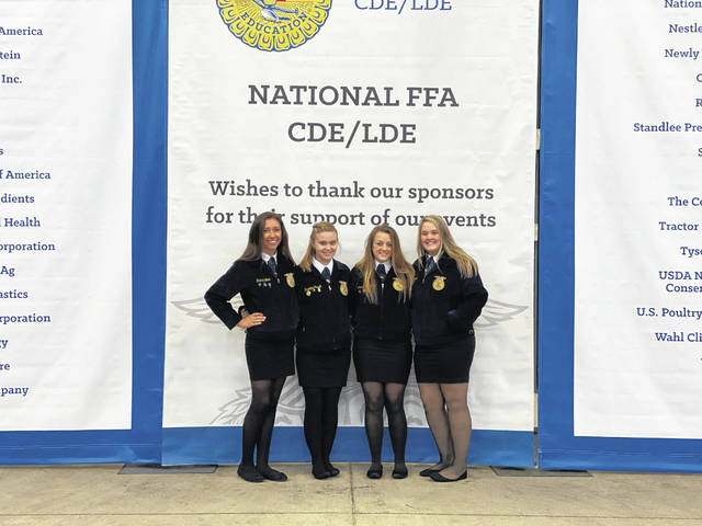 Pictured are Wahama FFA members Tayllor King, Penelope Haught, Hannah Wood, and Crimson Cochran.