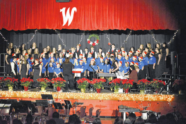 "A combined choir ensemble of New Haven Elementary and Wahama High School students performed the finale of ""Joy to the World"" at the Bend Area CARE Christmas Concert, held Sunday in the high school gymnasium."