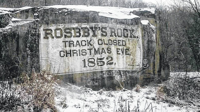 The last spike was driven on the Baltimore & Ohio Railroad between Baltimore and the Ohio River. The event occurred at Rosbys Rock near Moundsville.