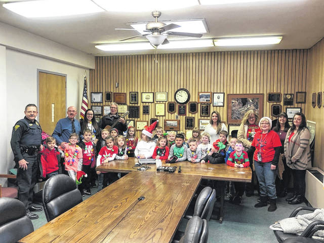 Mrs. Bowman's first grade class from Point Pleasant Primary School recently visited the municipal offices of the City of Point Pleasant, including the Point Pleasant Police Department and office of Mayor Brian Billings, as a reward for collecting the most canned food for donation to local families in need.