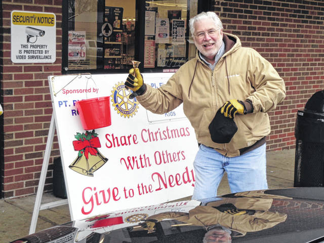 Members of the Point Pleasant Rotary Club spent their time ringing the bell this holiday season to raise funds for various local charities, setting up outside Piggly Wiggly, Fruth Pharmacy and Dollar General. Pictured is Art Hartley, Jr. from City Ice and Fuel collecting for Rotary.