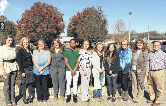 Pictured from left, Emily Gaskins, human resources director, Amber Findley, administrator, Patricia Shamblin, Mendy Swords, Otis Johnson, Rachelle Clonch, Bailey Walter, Brittany Bonecutter, Hayle Clendenen, Diana Hall RN, CNA class instructor, Jeff Noblin, FACHE, PVH CEO.