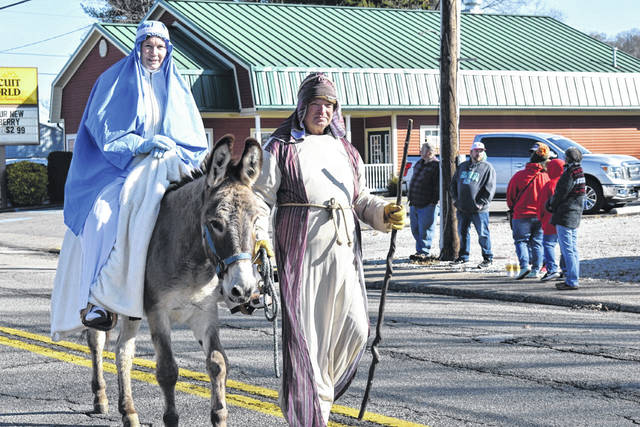 Mary and Joseph are pictured as they make their way to Jerusalem, as depicted by Salem Community Church.