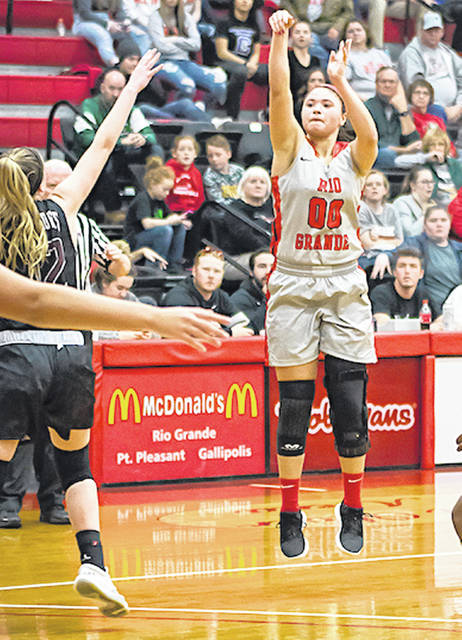 Rio Grande's Sydney Holden scored 14 points, handed out six assists and blocked three shots in Friday night's 91-82 win over Rochester (Mich.) University as part of the Woods Lumber Classic at the Newt Oliver Arena. Holden was one of five double-digit scorers for the RedStorm.