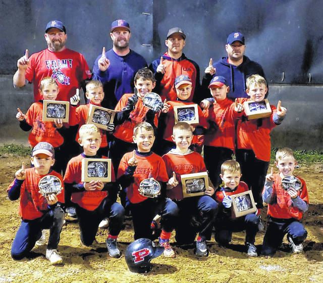 The Point Pleasant Boys of Fall won it all in the Middleport Fall Ball Baseball League minor division. The team ended the regular season in first place with an 11-1 record. They continued to dominate during tournament time with 19-16 and 8-3 wins putting them in the championship game, which they won 20-9, making them the Minor League Champions. Pictured from left, front row: Jamey Pearson, Gatlin Buskirk, Cy Watterson, Cole Hall, Clay Hall, and Scottie Stewart. Middle row: Luke Stewart, Layton Powell, Brayden Jordan, Rixon McCoy. Brylon McMillan, and Braydon Sweeney. Back row: Scott Stewart, Derrick Watterson, Jason McCoy, and Jimmy Hall.