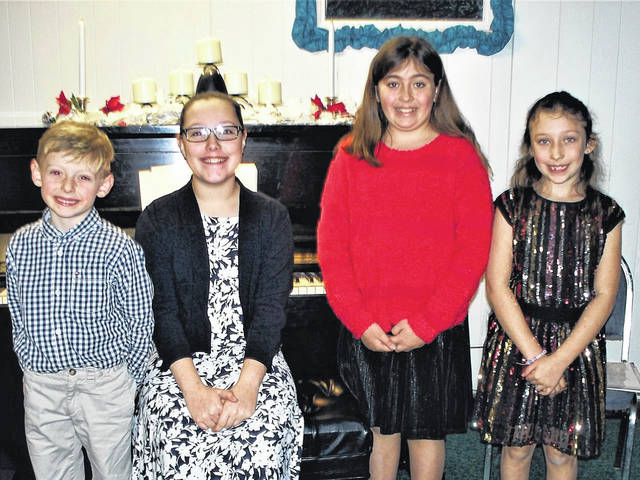 Pictured from left are students who participated in the piano recital at the Haven of Rest Church in Point Pleasant, Isaac Riffle, Lilyan Bird, Brooklynn Randolph, and BriAnn Randolph.