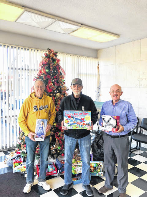The Point Pleasant Moose Lodge #731 Moose Legion dropped off their annual Toys for Kids donation. Pictured from left are Moose Lodge members Brice Gilpin and Dale Smith with Toys for Kids member Brian Billings.