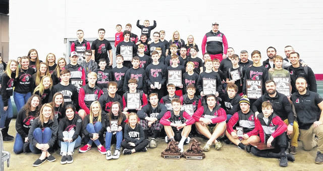 Members of the Point Pleasant junior high and varsity wrestling programs pose for a picture after winning championships Saturday at the WSAZ Invitational held in Huntington, W.Va.