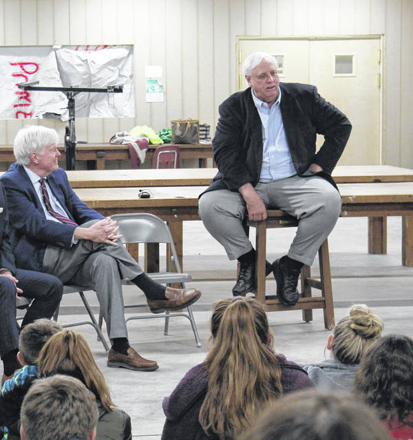 Gov. Jim Justice, at right, visits the Mason County 4-H Camp in Southside, W.Va. last week. Also pictured, Chief of Staff Mike Hall.