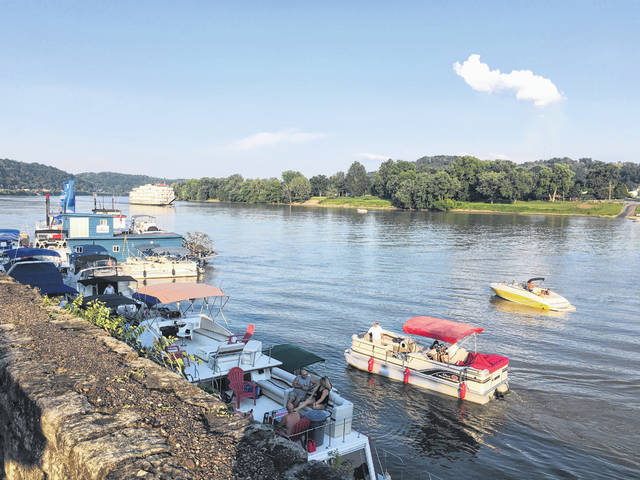 Boats line the Pomeroy levee during the annual Big Bend Blues Bash. The 20th annual Blues Bash will be held in late July.