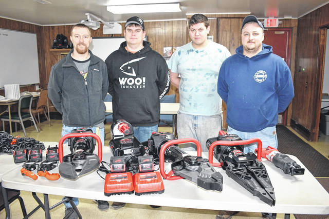 Nearly $38,000 in battery-powered extrication tools have been received by the Mason Volunteer Fire Department through the FEMA Assistance to Firefighters grant program. Pictured with the equipment, from left, are Howard Wood, fire chief; Austin Ohlinger, firefighter; Brandon Sayre, firefighter; and Travis Nance, deputy chief.