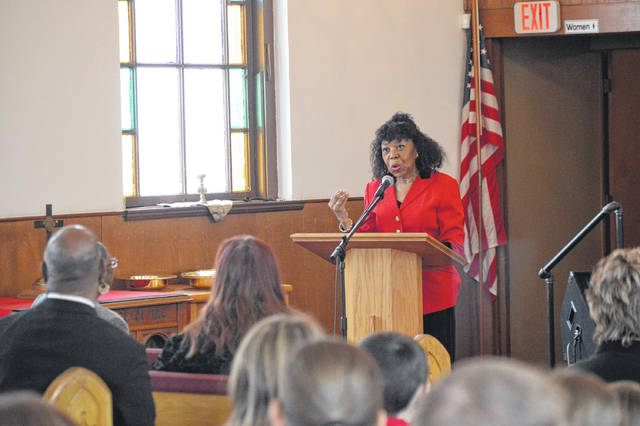 Educator and Journalist Ella Coleman addresses visitors in the Galllipolis Paint Creek Baptist Church about the importance of looking to the future of civil rights.