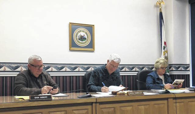 Commissioners Sam Nibert, Rick Handley and Tracy Doolittle during the organizational meeting on Thursday morning. Handley was selected as commission president and Nibert as the president pro-tem.