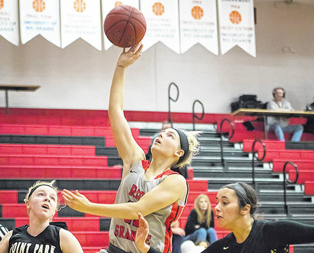 Rio Grande's Reagan Willingham scores two of her 10 points in Tuesday night's 95-89 triumph over Point Park University at the Newt Oliver Arena.