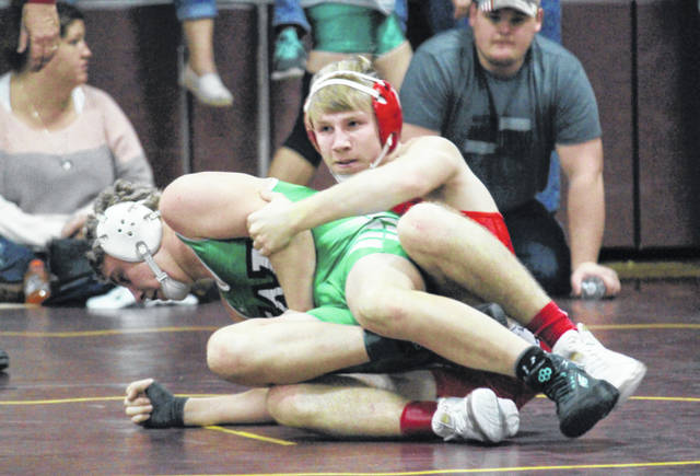 Wahama senior Trevor Hunt maintains leverage on an opponent during a Jan. 4 match held at Meigs High School in Rocksprings, Ohio.