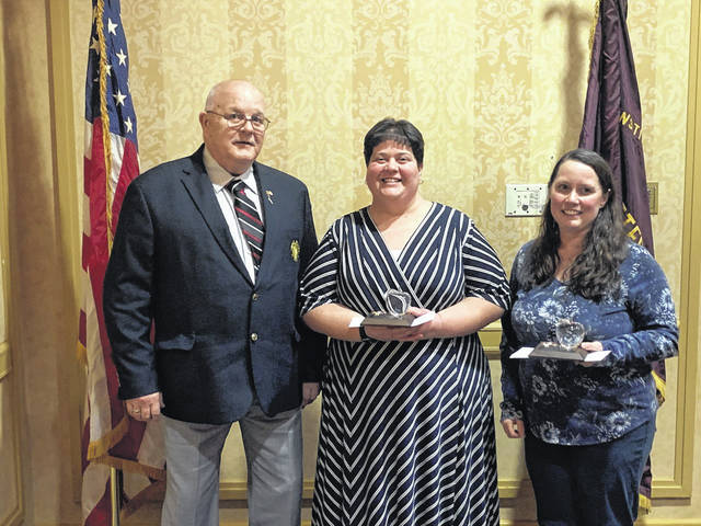 Melissa Bledsoe, right, and Kira Northup, center, both teachers in the Mason County School System, were recognized as the Department of West Virginia Veterans of Foreign Wars Teachers of the Year in Charleston this past weekend. Also pictured is Bob Caruthers of the Mason V.F.W. post, who was among those attending the event.