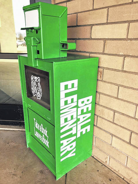 A donated newspaper box was turned into a book library for students at Beale Elementary. Students and families are encouraged to take a book from the box and also leave a book for other students and families.
