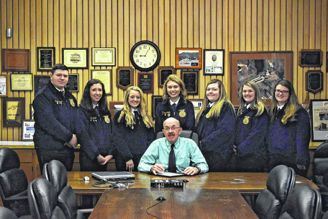 Members of the Mason County Career Center's FFA program are pictured with City of Point Pleasant Mayor Brian Billings. Pictured in the back row, from left are Trenton Mayes, Hannah Wood, Crimson Cochran, Clairy Keefer, Hannah Spurlock, Penelope Haught and Shaya Robinson.