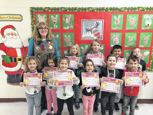 December Students of the Month for Point Pleasant Primary School were recently recognized for their accomplishments and enjoyed a lunch with their principal, Vickie Workman. Pictured are Cole Knapp, Oliver Morgan, Jax McCarty, Bryr Bonecutter, Azariah Johnson, Amilya Siders, Austin Sharp, Ryan Cossin, Zander Huffman, Kaelynn Haynie and MacKenzie Robinson.