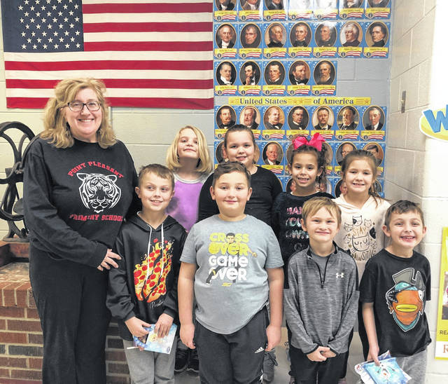 Student Leaders from Point Pleasant Primary School were recently selected by their teachers to serve for the third nine weeks. These second grade students were chosen based on their leadership qualities and being nice to others. They enjoyed a lunch with their principal, Vickie Workman. Pictured with Mrs. Workman are Dawson Pike, Avery Cheesebrew, Jaydan Muncy, Kaelynn Haynie, Emma Clark, Emma Lane, MacKenzie Robinson and Ezra Templeton.