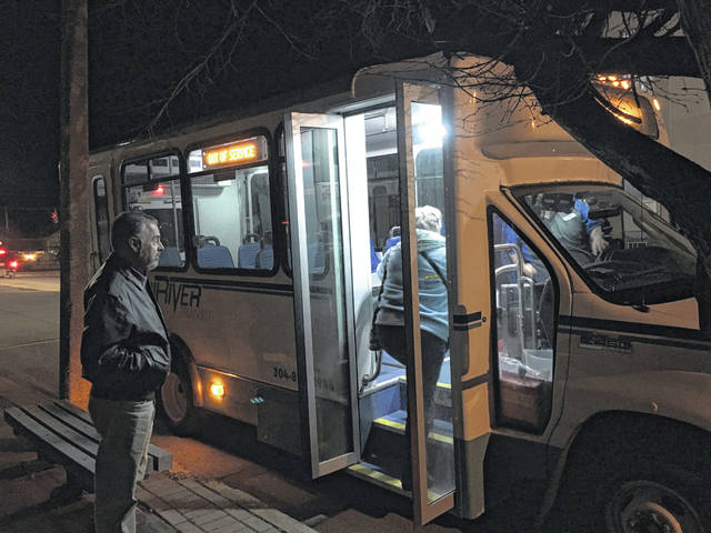 In this file photo, attendees of the public meeting last year had the opportunity to view one of TriRiver Transit's buses prior to the launch of the routes in Mason County.