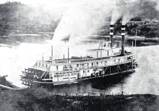 Pictured is Mountain Boy, one of six steamboats that moved West Virginia's capital from Wheeling to Charleston.