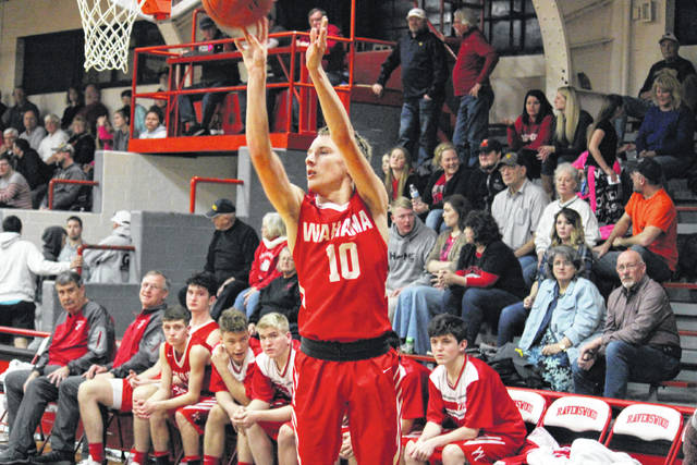 Wahama senior Brayden Davenport (10) hits one of his two fourth quarter three-pointers, during the White Falcons' 78-65 loss in the Class A Region IV, Section 1 opener on Saturday in Ravenswood, W.Va.