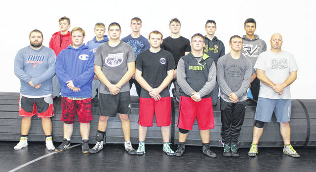 Pictured are members of the 2019-20 River Valley varsity wrestling team. Standing in front, from left, are assistant coach Mark Allen, Christopher Goheen, Ryan Weber, Brice Petitt, Landon Goheen, Aiden Greene and RVHS coach Matthew Huck. Standing in back are Justin Stump, Andrew Huck, Nathan Cadle, Will Hash, Seth Bowman and Nathan Brown.