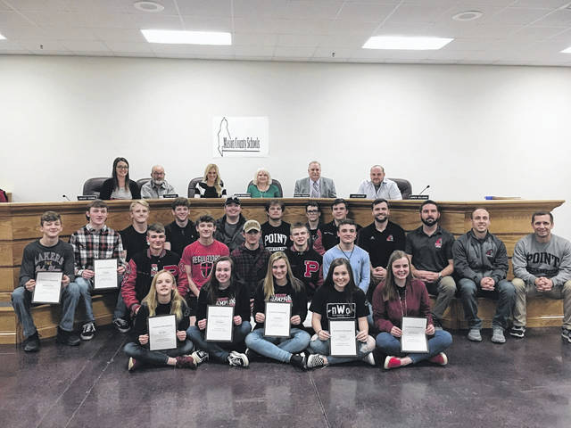 The Mason County Board of Education recognized the Point Pleasant High School Wrestling team for their recent state championship win.