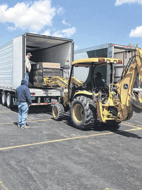 Food for this week's delivery of meals to students arrives at Mason County Schools. A week's worth of meals will be delivered today, Wednesday, April 22. (Mason County Schools | Courtesy)