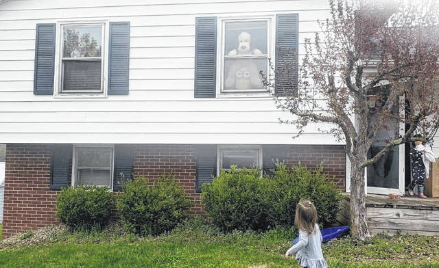 """A view from a recent Gallia """"bear hunt"""" which allows children a chance to go outside, seek out stuffed animals in their neighborhoods and still practice safe social distancing. (Hillary Attar 